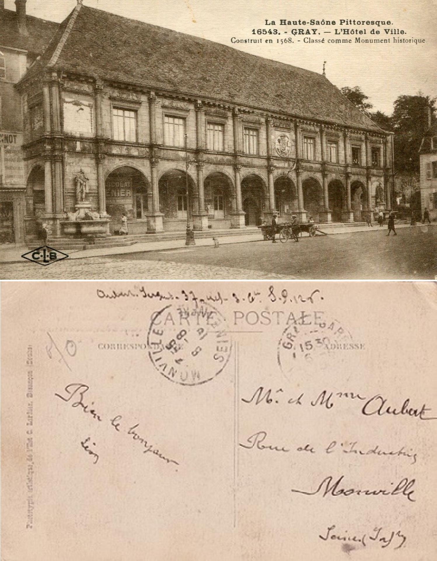 Aubert a gray haute saone le 8 aout 1915 recto
