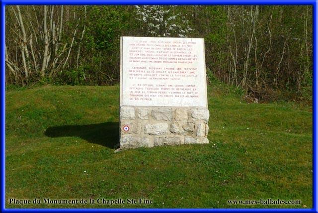 Fleury devant douaumont plaque du monument de la chapelle sainte fine 55 meuse lorraine france