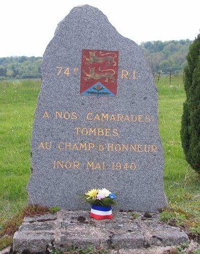 Stele du 74 regiment d infanterie 6 di entree ouest d inor devant le cimetiere